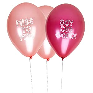 Neviti- Bride Squad Balloons-Boy Did Good/Miss to Mrs-8 Pack Globos, Color rosa, 10 x 3 x 0.2 (776049)