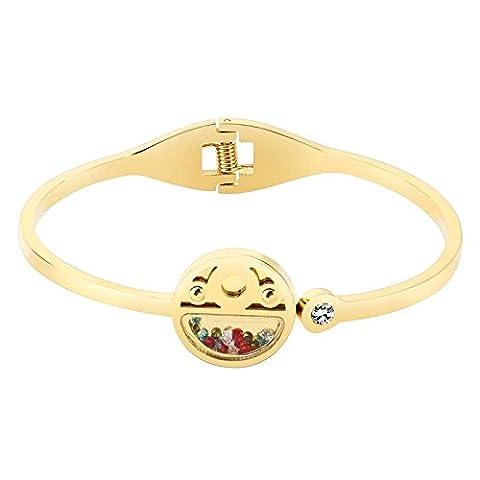 AnaZoz Bracelet Cuff Acier Inoxydable pour Femme Round with Multi Color Cristals Or