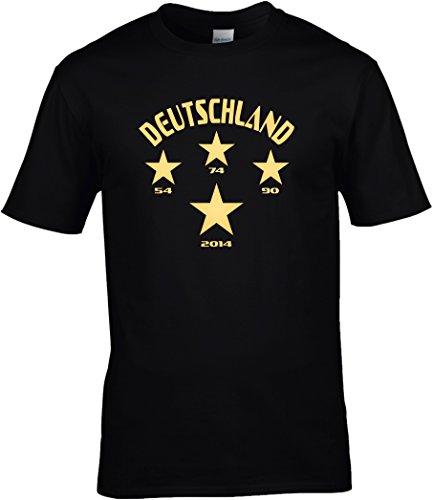 T-Shirt Herren WM Shirt Deutschland Fussball Shirt 4 Sterne 54 74 90 2014 Weltmeister WM 2018, T-Shirt, Grösse XXXXXL, schwarz