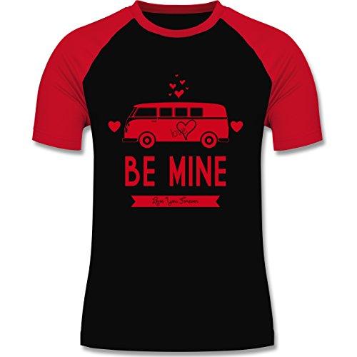 Statement Shirts - Love Me Mine Bus T1 - zweifarbiges Baseballshirt für Männer Schwarz/Rot