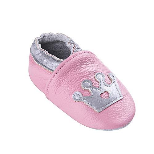 Weiche Leder Babyschuhe mit Mokassins Wildledersohlen für Kleinkinder Kleinkinder Jungen Mädchen Prewalker Schuhe (6-12 Monate, Rosa Krone) (Rosa Traktor Für Mädchen)