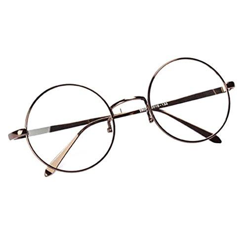 Prettyia Retro Rund Brille Metall Rahmen Brillen Bronze Fensterglas Brillenfassung Nerdbrille -
