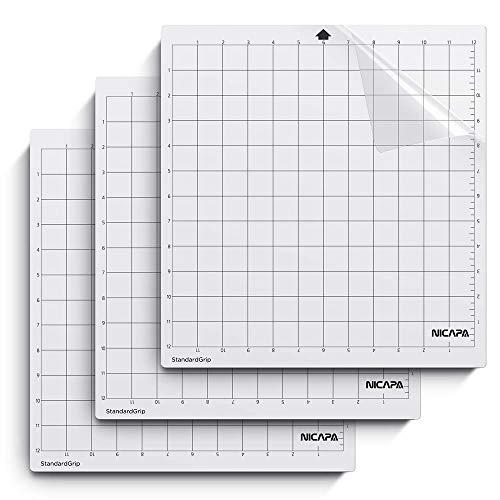NICAPA Schneidematte für Silhouette Cameo 3/2/1 [Standardgriff, 12x12 Zoll, 3er-Pack] Haftende und rutschfeste Flexible gerasterte Schneidematten Ersatzmatten Zubehörset Vinyl Craft Sewing Cloth