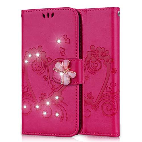 Lspcase Samsung Galaxy S5 Flip Cover, Samsung Galaxy S5 Neo Diamante Bling Libro Custodia in Pelle Portafoglio con Supporto Case per Samsung Galaxy S5 / S5 Neo Modello di Fiore Farfalla Rosa