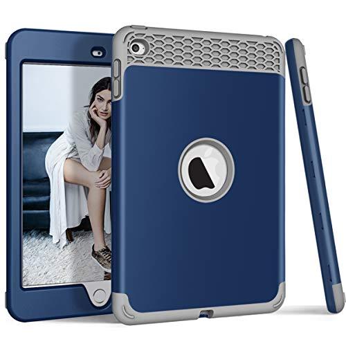 ZERMU 3-in-1-Schutzhülle für iPad Mini 4, strapazierfähig, stoßfest, Hartplastik, stoßfest, stoßfest, Silikon-Gummi-Schutzhülle, für iPad Mini 4, Modell 2015, Navy-Gray (Ipad Griffin 4 Case Survivor)