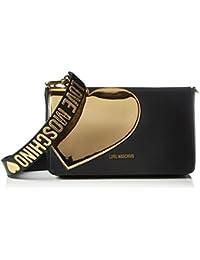 Love Moschino - Borsa Calf Pu Nero+tpu Oro, Henkeltasche Mujer, Mehrfarbig (Black/gold), 18x29x8 cm (W x H D)