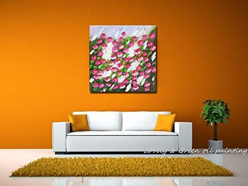 YHXIAOBAOZI Ölgemälde Auf Leinwand Ölgemälde,Moderne Abstrakte Dekorative Rosa Blumen Feld 100% Handbemalt Ölgemälde Auf Leinwand Moderne Wandkunst Für Wohnzimmer Wohnkultur 110×110Cm