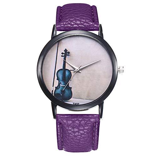 CJWANXF Damenuhr Damen ArmbanduhrenModeDamenuhrenCasual Pu Lederband Runde Uhr, Lila