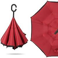 Leo565Tom Paraguas invertido, Paraguas a Prueba de Viento Anti-UV, Paraguas con Forma