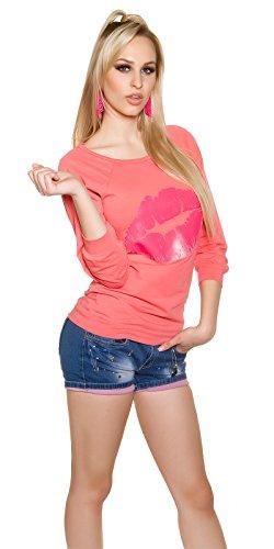Leichtes Sweatshirt mit Kussmund-Print Coral