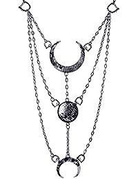 Collar Gótico de Restyle con Pendiente de las Fases de la Luna Luna Creciente Ocultismo