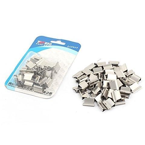 DealMux Metall Papier Fastener Clam Staple Spender Clips Silber Ton 100pcs
