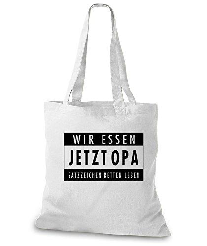 StyloBags Jutebeutel / Tasche Wir essen jetzt Opa Weiß