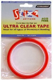 Stix2 Double Sided Ultra Clear Very High Tack Adhesive Tape, 12mm x 5m by Stix2 (Stix Ultra)