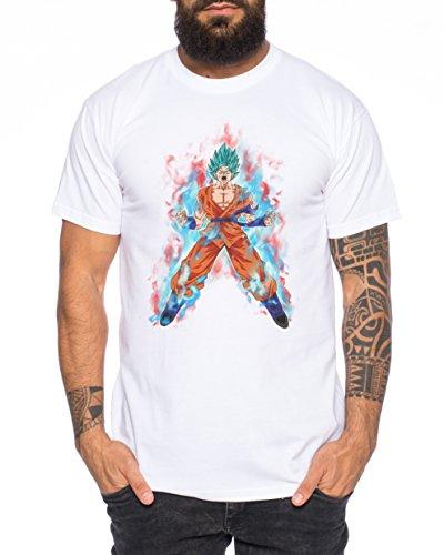 Goku Blaues Feuer Nerd Herren T-Shirt in verschiedenen Farben Weiß