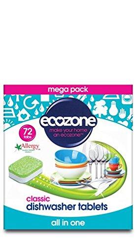 Ecozone All in One Spülmaschinen-Tabs Classic, 72Tablets, Mega Pack, Schnitte durch Fett und Schmutz - Tabletten Advanced Formula