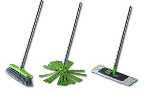 3in1 Putz-Set Wischmop, Mikrofaser-Tuch, Besen Reinigungs-Set Metall Stiel 110 cm (Grün) -