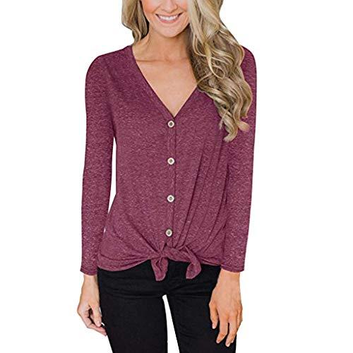 TOPKEAL Langarmshirt Damen Langarm V-Ausschnitt Sweatshirt mit Knöpfen Casual Einfarbig T-Shirt Lose Bluse Oberteil Top (Wein, XL)