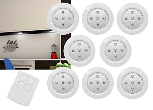 8er Set LED Unterbauleuchten Batteriebetrieb mit Fernbedienung und Touchfunktion Unterbau Leuchte Lampe Licht Nachtlicht für Küche, Keller, Treppe uvm - selbstklebend und anschraubbar