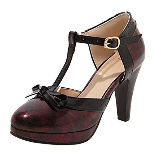 Agodor Damen Lack T-Strap High Heels Pumps mit Blockabsatz und Schleife Rockabilly Schuhe (Rot 3,EU 36) -