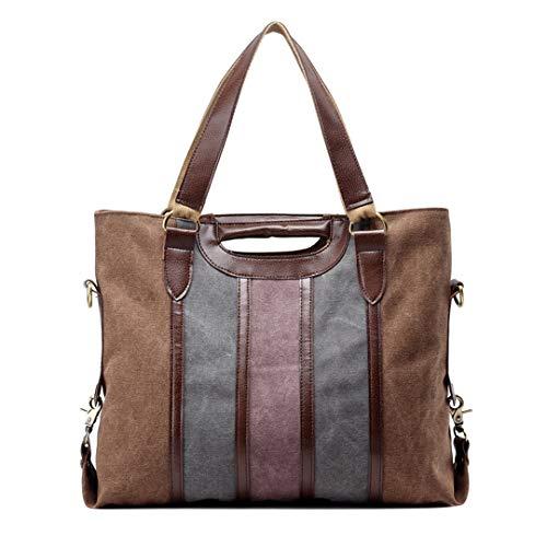 Marken Factory Outlet (Vintage Canvas Frauen HandtaschenLadies Umhängetasche Patchwork Frauen Lady Bag Berühmte Marken Große Casual Tote Bolsa Small Brown 48X40X17Cm)