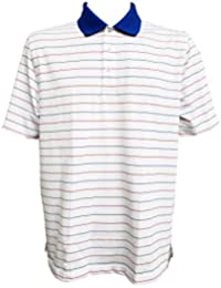 28250f8ae0 Vineyard Vines Men's Performance Polo, Blue Collar, Striped, White Cap,  Large