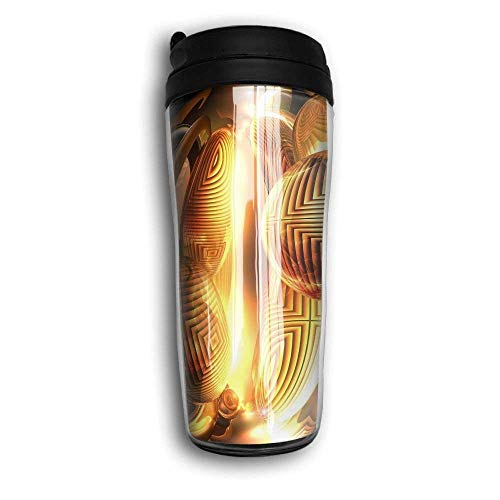 Insulated Coffee Mug Stainless Steel Trave Office Cup Gold Ball Lines Cup,Keep Hot,Carry Hand Cup -