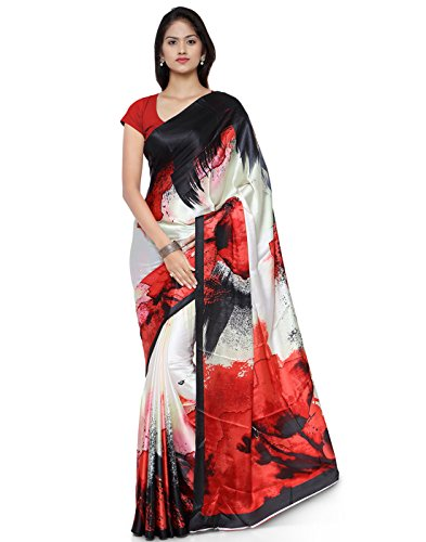 Applecreation Women's Crepe Saree (JPQ5811_Red_Free Size)