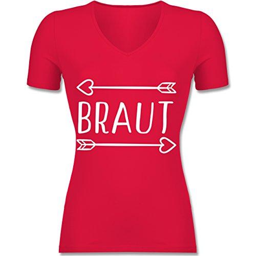 Shirtracer JGA Junggesellinnenabschied - Braut Pfeile - Tailliertes T-Shirt mit V-Ausschnitt für Frauen Rot