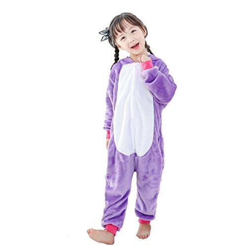 GWELL Kinder Einhorn Kostüme Tier Tieroutfit Cosplay Jumpsuit Schlafanzug Mädchen Jungen Winter Nachtwäsche lila Körpergröße 105-114cm (Schlafanzug Lila Jungen)