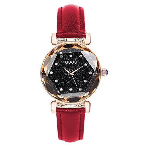 GBPHH Frauenuhr Sternenhimmel Mode Trend Wasserdicht Neu Einfach Leder Weibliche Uhr Student