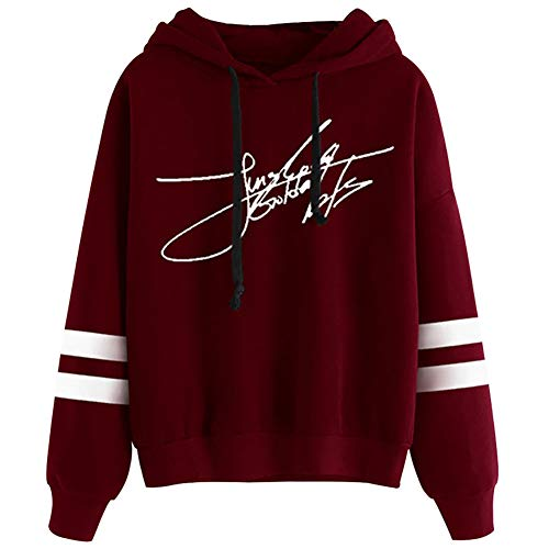 GOTH Perhk KPOP BTS Sweatshirt Active Fashion Hooded Hoodie Jungkook Signature Pullover for Women(M Red) Red Womens Hoodie