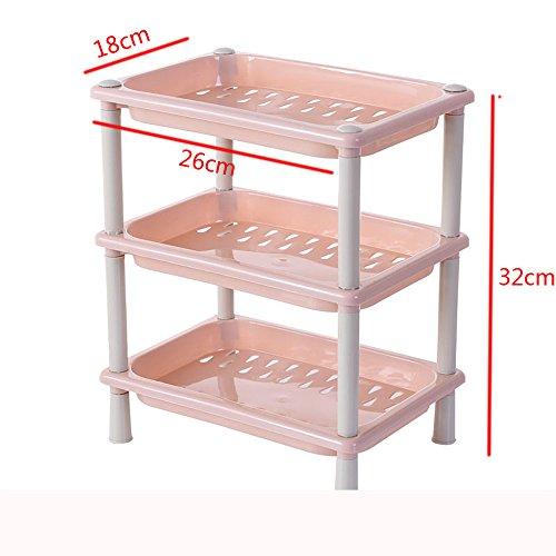 Leeafly 3 Tier Kunststoff Corner Organizer Bad Caddy Regal Küche Lagerregal Halter Badregal, Standregal, Küchenregal Schuhregal(Pink)