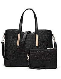 SLB Works 2Pcs Composite Bag Female Embossed Leather Handbag Alligator  Pattern Women Messenger Bags b0ae6a5b0d