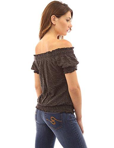PattyBoutik Damen weiches fließendes Schulterfreies Top mit kurzen Ärmeln und Schleife meliert dunkelgrau