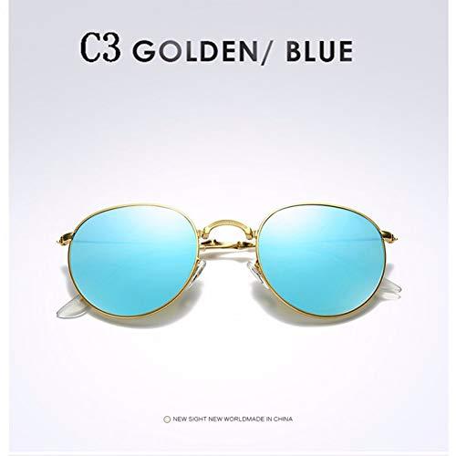 TJJQT Sonnenbrillen Runde Klappsonnenbrille Herren Damen Classic Polarized Sun Glasses Fold Metal Frame