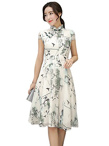 Fasbys Women's Vintage Floral Print Dresses Party Outfits (XXL, Style 10) (Print Silk Floral)