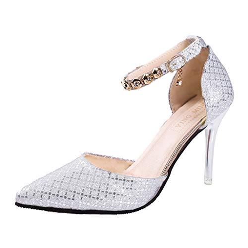 Lilicat Donna Estate Scarpe col Tacco Stiletto Elegante Caviglia Pompe Partito Sandali con A Punta Alta Scarpa Casual Scarpe Casual con di Perle Decorazione(Argento 1,35 EU)