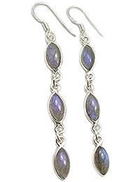 Labradorite earrings in sterling silver - Stone size 5x10mm