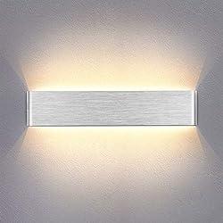 Yafido Applique Murale Interieur LED 14W 40cm Lampe Murale Blanc Chaud Design Simple AC 220V Argent Gris Brossé pour Chambre Salon Salle de Bain