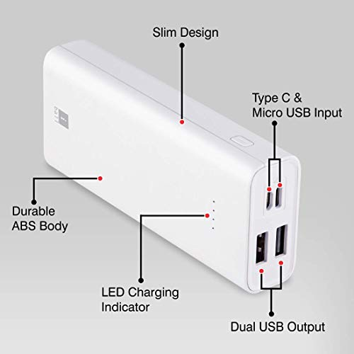 iBall 10000mAh Li-Polymer Slim Design Smart Charge Powerbank - LPS 10000 (White) Image 3