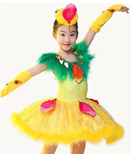 HUOFEINIAO-Tanzkleidung Kinder glücklich Kuckuck Show Kostüm Tanz Tier Vogel Tanz Kostüm Mädchen Tanz Rock, 110cm, Yellow (Vogel Tanz Kostüm)