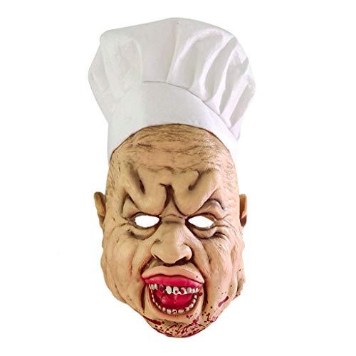 Dlh maschera di halloween, vestire parrucca spaventosa, creepy crazy chef cappuccio in lattice, per halloween party party gioco di ruolo di pasqua