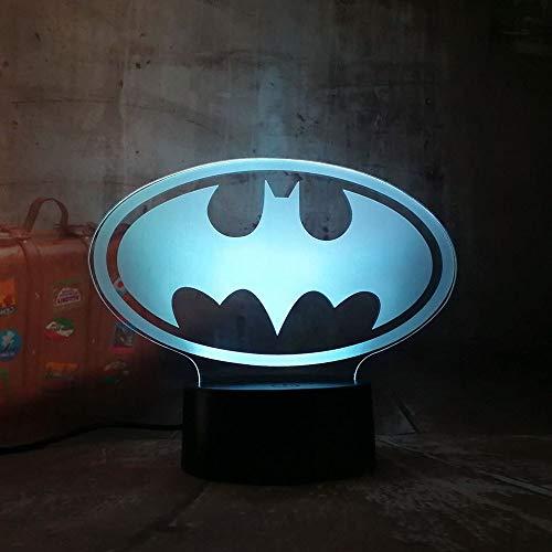 Yangll Lumière De Nuit 3D 3D LED DC Batman Symbole Lumière Nuit Table De Bureau Lampe 7 Changement De Couleur Lampe De Poche USB RGB Controler Jouet Enfants Cadeau