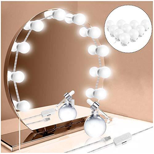 VNEIRW 4.6M Hollywood-Stil LED Spiegelleuchte Dimmbar Schminklicht Spiegellampe Schminkleuchte Lichter, USB-Powered 3 Modi 10 LEDs 4000K, für Schminktisch (Weiß) (Usb-powered-licht)