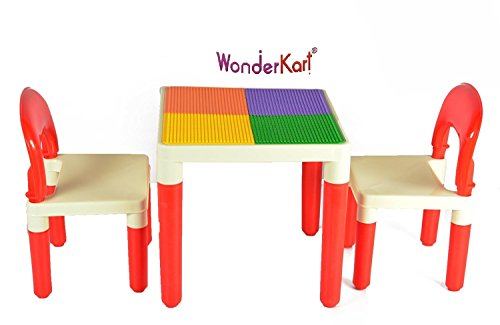 Bajaj 2 in 1 Building Blocks cum Study or Play Table with 2 Chairs (Red)