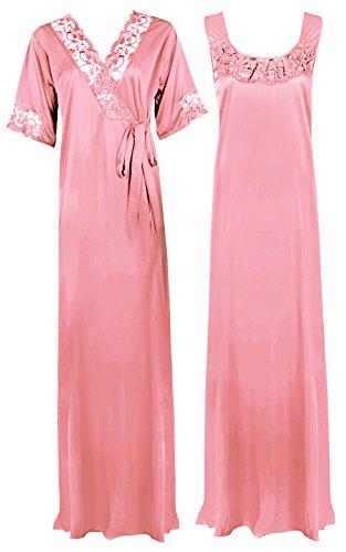 The Orange Tags - Camicia da notte lunga, abbigliamento da notte, da donna, taglia morbida, colore: viola Baby Pink