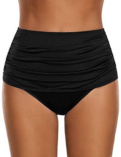 Laorchid Damen Frauen hoher Taille Bikini Hose Shorts Unterteil Bauchweg Schwarz XL