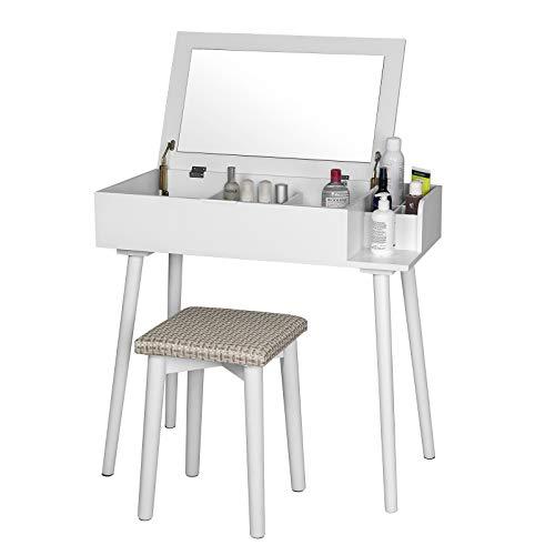 WOLTU MB6041ws Tavolo da Trucco Organizer per Cosmetici Toeletta Specchiera con Sgabello Specchio Tavolino Scrivania Porta PC in Legno Bianco