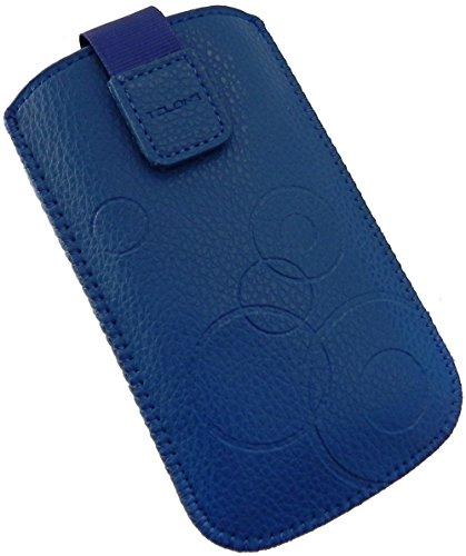 Handyschale 24 Slim Case für Bea-Fon SL470 Handyschale Blau Schutzhülle Tasche Cover Etui mit Klettverschluss